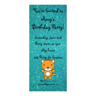 Personalized name fox turquoise glitter personalized invite