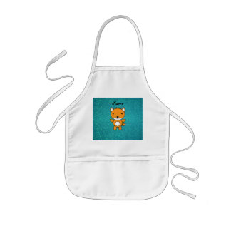 Personalized name fox turquoise glitter kids' apron