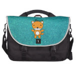 Personalized name fox turquoise glitter commuter bags
