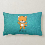 Personalized name fox turquoise glitter throw pillow
