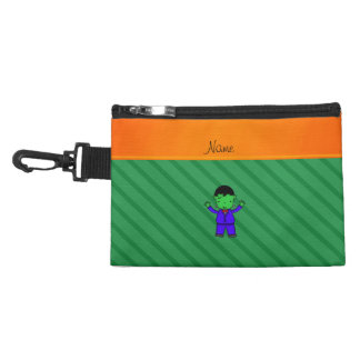 Personalized name frankenstein green stripes accessories bags