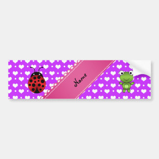 Personalized name frog and ladybug purple hearts p bumper sticker