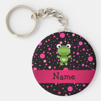 Personalized name frog black pink polka dots basic round button keychain