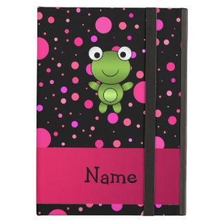 Personalized name frog black pink polka dots iPad air case