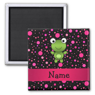 Personalized name frog black pink polka dots magnet