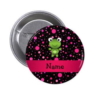 Personalized name frog black pink polka dots pinback button