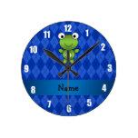 Personalized name frog blue argyle round clock