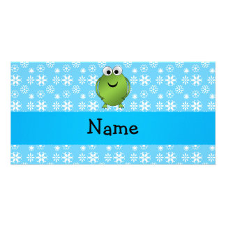Personalized name frog blue snowflakes personalized photo card