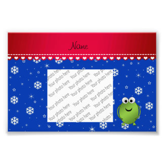 Personalized name frog blue snowflakes red stripe photo print