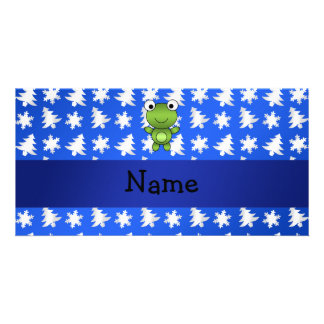 Personalized name frog blue snowflakes trees photo greeting card