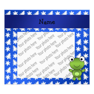 Personalized name frog blue snowflakes trees photo