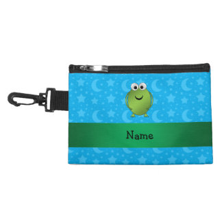 Personalized name frog blue stars and moons accessory bag