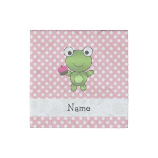Personalized name frog cupcake pink polka dots stone magnet