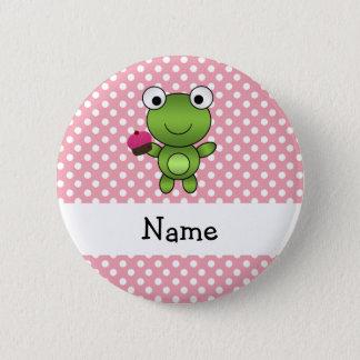 Personalized name frog cupcake pink polka dots pinback button