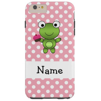 Personalized name frog cupcake pink polka dots tough iPhone 6 plus case