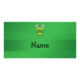 Personalized name frog green background custom photo card