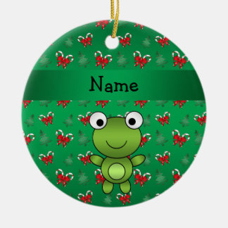 Personalized name frog green candy canes bows ceramic ornament