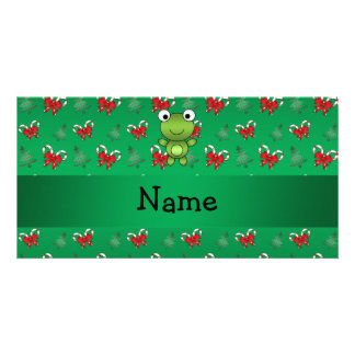 Personalized name frog green candy canes bows custom photo card