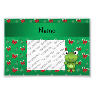 Personalized name frog green candy canes bows photographic print