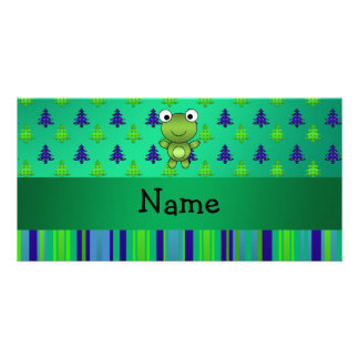 Personalized name frog green christmas trees photo greeting card