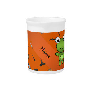 Personalized name frog halloween pattern beverage pitchers