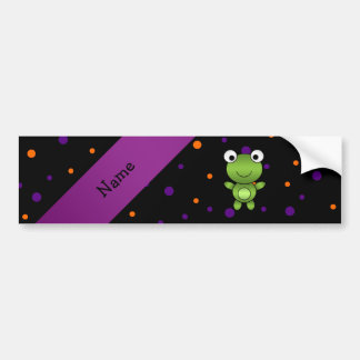 Personalized name frog halloween polka dots bumper sticker