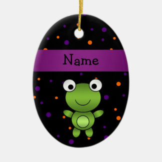 Personalized name frog halloween polka dots Double-Sided oval ceramic christmas ornament