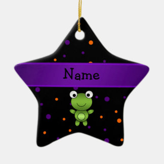Personalized name frog halloween polka dots Double-Sided star ceramic christmas ornament