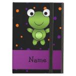 Personalized name frog halloween polka dots iPad folio cases