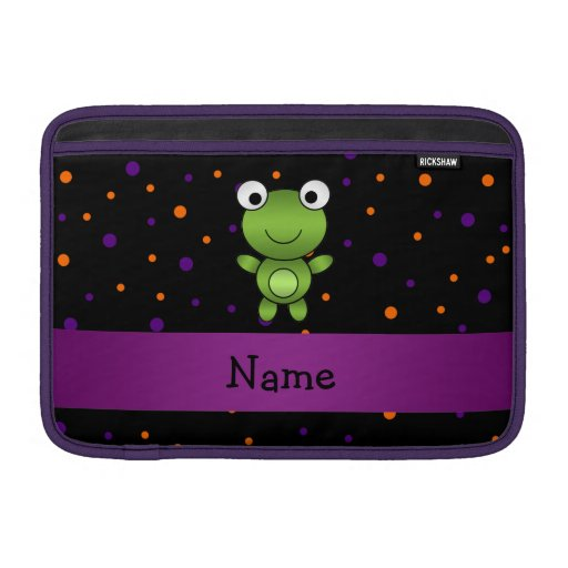 Personalized name frog halloween polka dots MacBook sleeves
