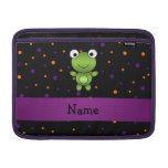 Personalized name frog halloween polka dots MacBook air sleeves