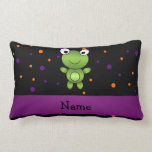 Personalized name frog halloween polka dots throw pillow