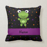 Personalized name frog halloween polka dots pillow
