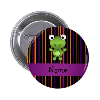 Personalized name frog halloween stripes 2 inch round button