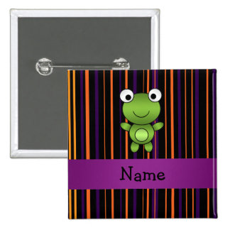 Personalized name frog halloween stripes 2 inch square button