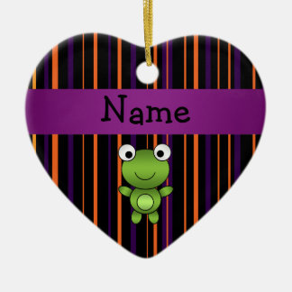 Personalized name frog halloween stripes Double-Sided heart ceramic christmas ornament