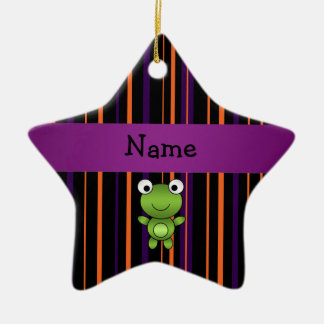 Personalized name frog halloween stripes Double-Sided star ceramic christmas ornament