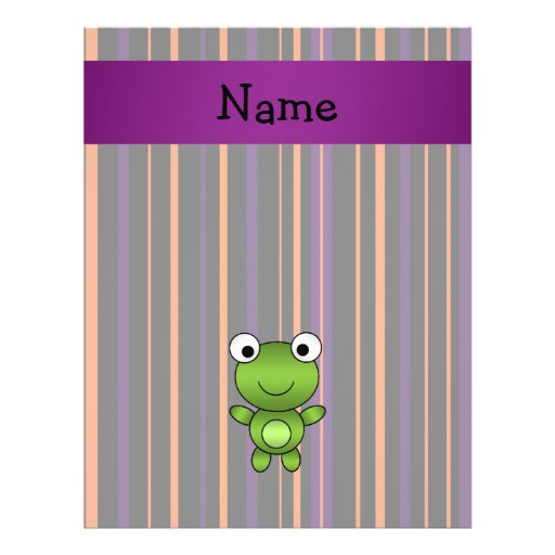 Personalized name frog halloween stripes custom flyer
