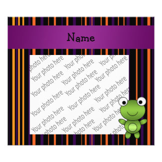 Personalized name frog halloween stripes photo