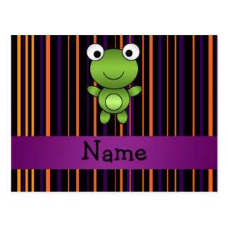 Personalized name frog halloween stripes postcard