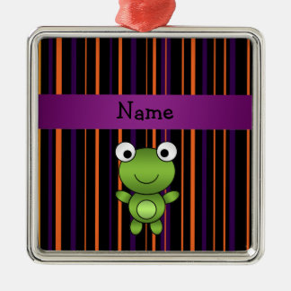 Personalized name frog halloween stripes square metal christmas ornament