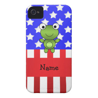Personalized name frog patriotic american flag iPhone 4 cases