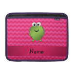 Personalized name frog pink chevrons MacBook air sleeves
