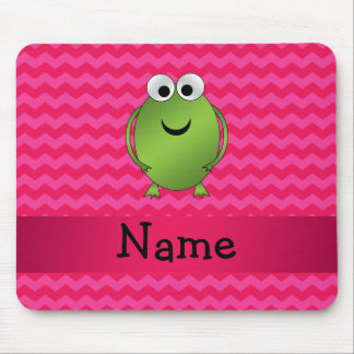 Personalized name frog pink chevrons mouse pad