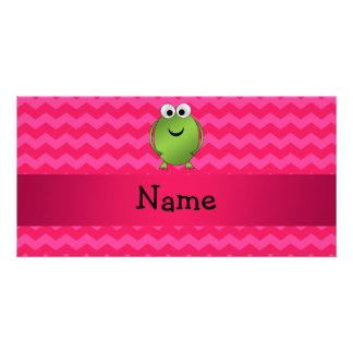 Personalized name frog pink chevrons custom photo card