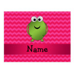 Personalized name frog pink chevrons postcard
