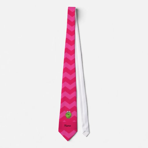 Personalized name frog pink chevrons tie