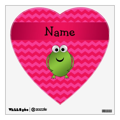 Personalized name frog pink chevrons wall decals