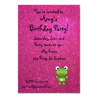 Personalized name frog pink glitter card
