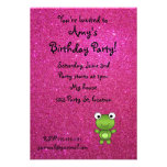 Personalized name frog pink glitter invitation